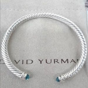 David yurman 5mm Classic Blue Topaz and Diamonds